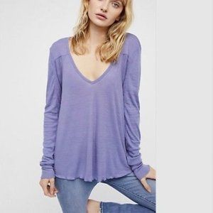Free People Ribbed Blue Rock the Boat Long Sleeve
